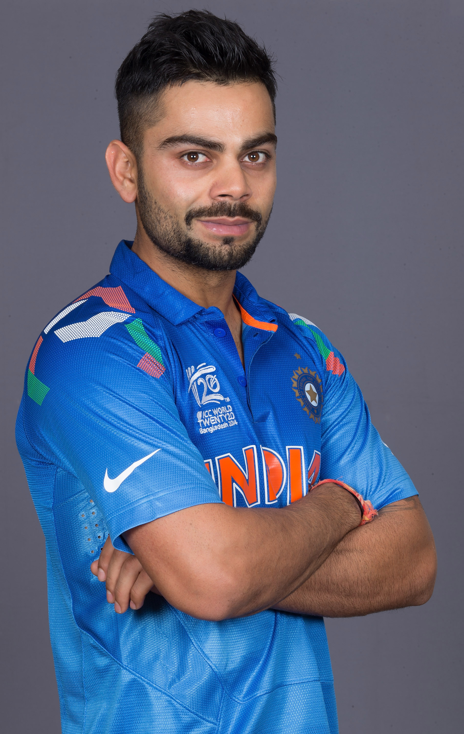 DHAKA, BANGLADESH - MARCH 15:  Virat Kohli of India at the headshot session at the Pan Pacific Hotel, Dhaka in the lead up to the ICC World Twenty20 Bangladesh 2014 on March 15, 2014 in Dhaka, Bangladesh. (Photo by Graham Crouch-IDI/IDI via Getty Images)