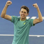 Alex De Minaur of Australia reacts after he won his match against Milos Raonic of Canada 6-4, 6-4, during the Brisbane International tennis tournament in Brisbane, Australia, Wednesday, Jan. 3, 2018. (AP Photo/Tertius Pickard)